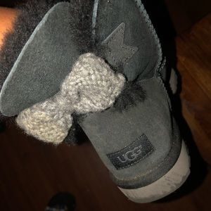 Mini Bailey knit bow ugg black